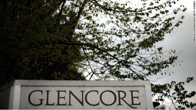 The logo of Swiss commodities giant Glencore is seen at its headquarters on October 12, 2011 in Baar near Zug