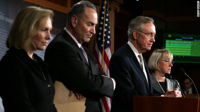 Democratic Sens. Kirsten Gillibrand, Charles Schumer, Harry Reid and Patty Murray talk Thursday about the STOCK Act.