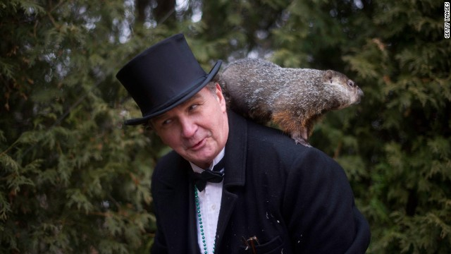 Groundhog handler John Griffiths holds Punxsutawney Phil after he saw his shadow, predicting six more weeks of winter, during Groundhog Day festivities on February 2 in Pennsylvania.