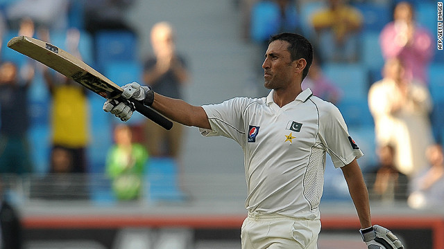 Pakistan's Younis Khan salutes the crowd after passing three figures in the third Test against England in Dubai.