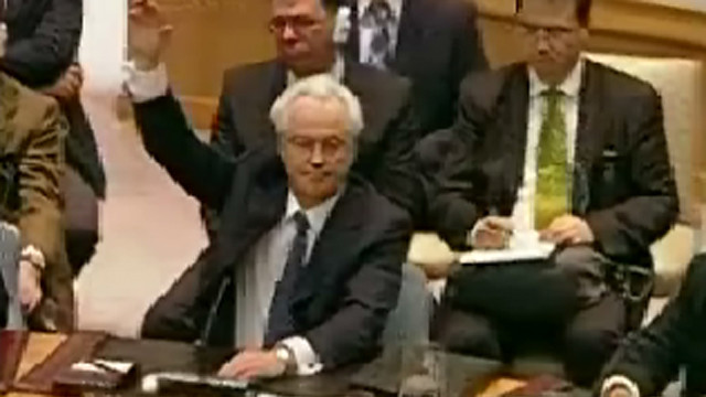 Russian ambassador votes down a resolution against Syria.