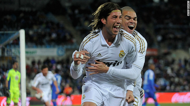 Real Madrid's Sergio Ramos celebrates scoring against Getafe during the La Liga match on Saturday.