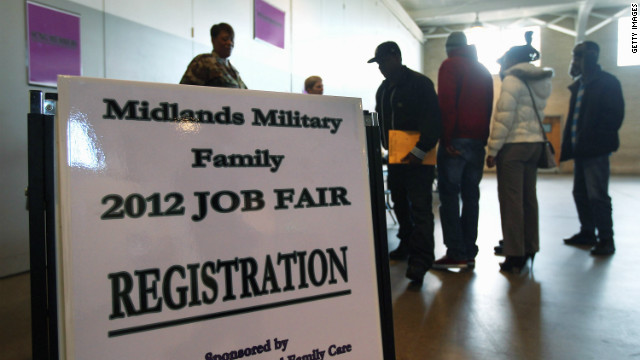 South Carolina National Guardsmen, veterans and their families line up to meet employers at a job fair on January 19 in Columbia.