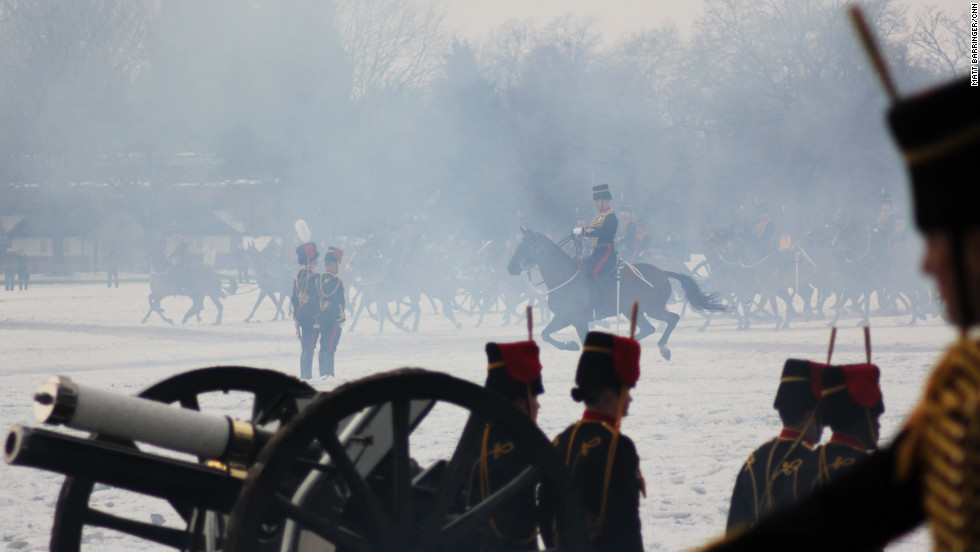 The sound of pounding guns is replaced by the canter of horse's hoofs as the cavalry step in to collect the guns.