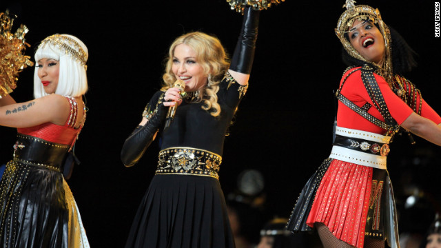 Nicki Minaj, left,  Madonna and M.I.A. perform during halftime of Super Bowl XLVI.