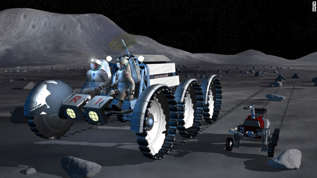 In this NASA artist's concept, astronauts ride a moon rover accompanied by a robot work assistant.