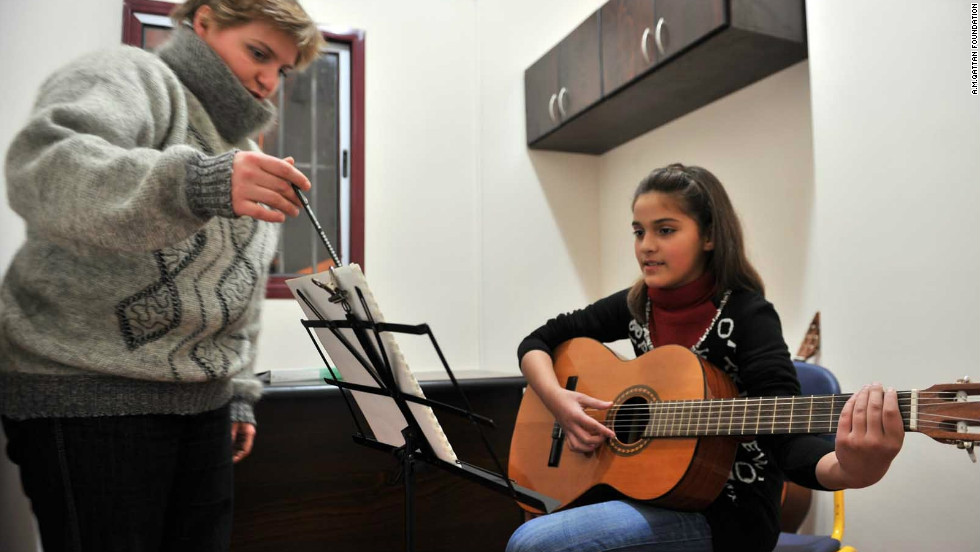 Guitar instructor Natalia Abu Obeid during a class