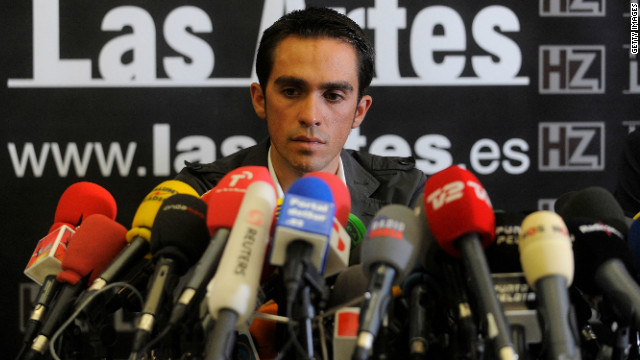 Alberto Contador faces the world's media after being handed a two-year suspension from cycling.