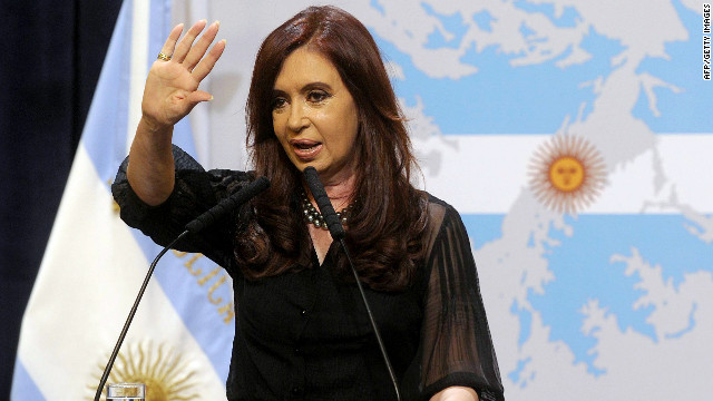 Argentine President Cristina Fernandez de Kirchner delivers a speech in front of a backdrop displaying the Falkland Islands (Malvinas in Spanish) painted like the Argentine national flag at the Government Palace in Buenos Aires on February 7, 2012. Fernandez de Kirchner announced that her government will present a protest to the United Nations due to the 'militarization' of the South Atlantic by Great Britain, after the British Royal Navy announced it would be sending the destroyer HMS Dauntless near the disputed islands. AFP PHOTO / Juan Mabromata (Photo credit should read JUAN MABROMATA/AFP/Getty Images)