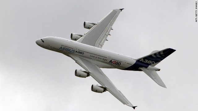 The Airbus A380 jet liner pictured at the Paris air show in 2011.