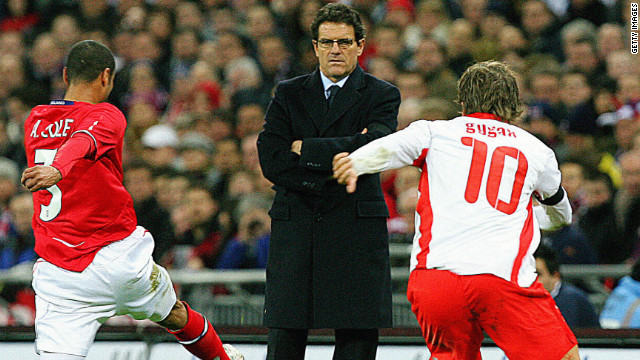 Capello's first game in charge was a friendly against Switzerland at Wembley in February 2008.