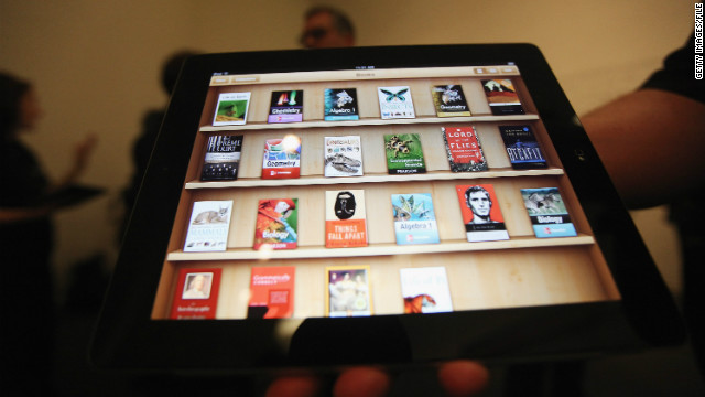 An Apple event demonstrates its iBooks 2 app on an iPad at New York's Guggenheim Museum in January.