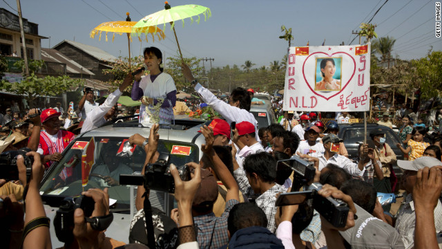 Aung San Suu Kyi takes her campaign for a parliament seat to Kaw Hmu, Myanmar, on Saturday.