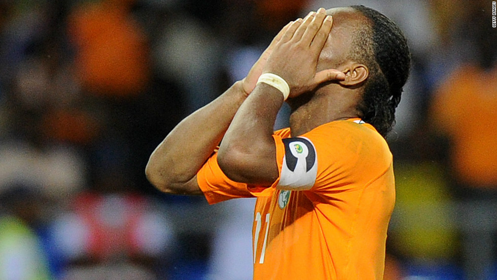Drogba could have put the Ivory Coast ahead midway through the second half, but fired his penalty high over the crossbar. The Chelsea striker also missed a spot-kick in the Elephants' 2006 shootout defeat to Egypt.