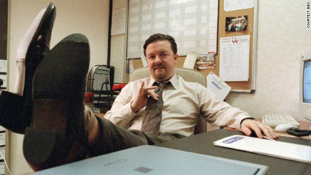 "Ricky Gervais plays inept boss David Brent in the British version of TV show ""The Office."""