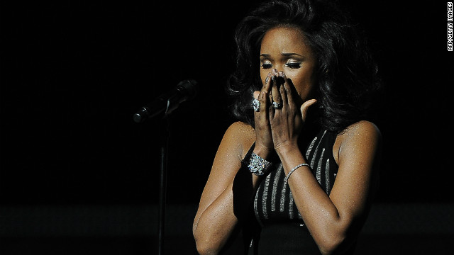 Jennifer Hudson performs in memory of the late Whitney Houston during the Grammy Awards in Los Angeles, California, Sunday.