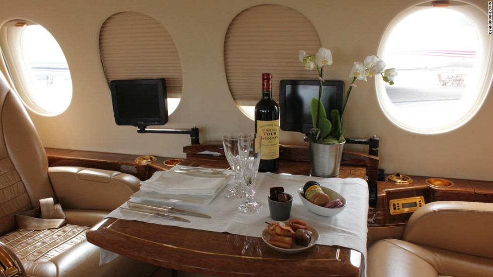 "Dinner for two? The ""old style"" interior of a Dassault Falcon 7X."