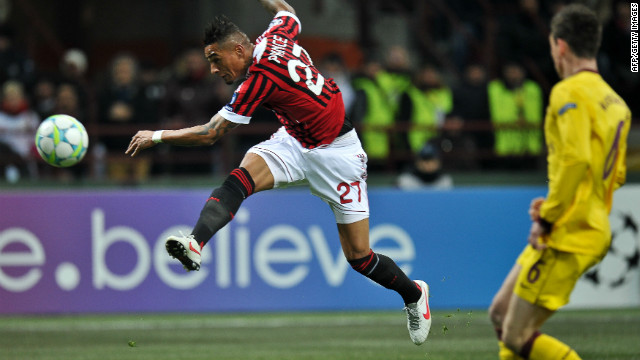 Kevin Prince Boateng opened the scoring for AC Milan against Arsenal with a sensational goal at the San Siro