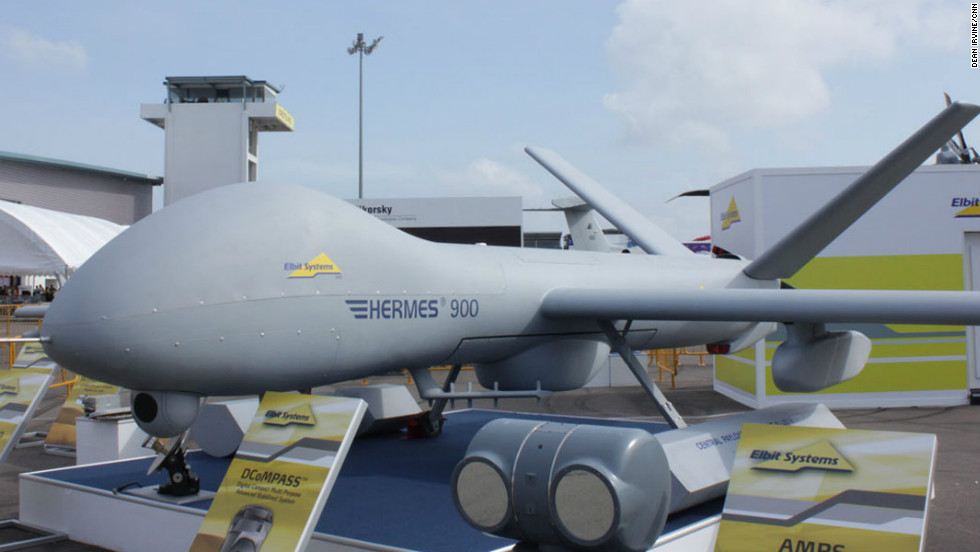 Elbit's Heron drone on display at the Singapore Airshow.