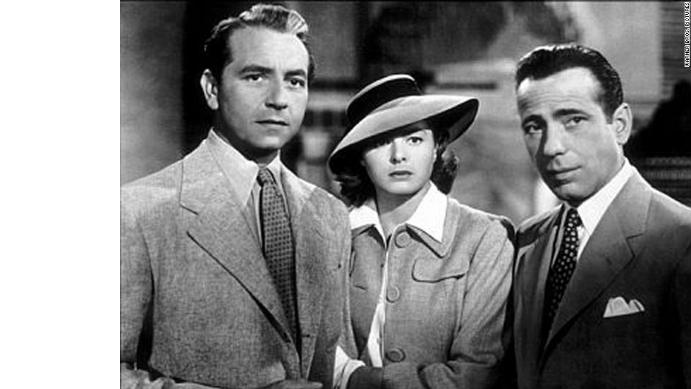"In ""Casablanca,"" Humphrey Bogart plays the cynical Rick Blaine, torn between reconciling with his ex-lover Ilsa Lund (Ingrid Bergman), and helping her escape the Moroccan city with her husband (Paul Henreid) during World War II. In the end, Blaine lets her go, and says, ""Here's looking at you, kid."""