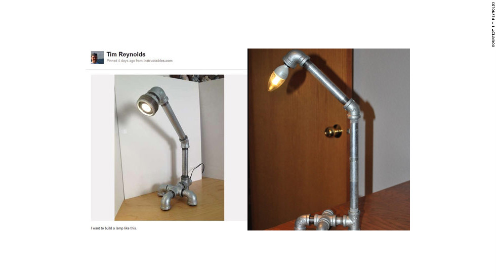 "And Pinterest-prompted projects aren't just for the girls! Tim Reynolds built this <a href=""http://ireport.cnn.com/docs/DOC-746757"">industrial-looking lamp</a> after gathering a bunch of similar lamps on a pinboard. ""After gathering several other pipe lamp images on my board, I couldn't stand not trying my hand at building one myself. So, I made a trip to Home Depot and bought the parts I wanted and put it all together,"" he said. Reynolds had only been on Pinterest for about a week at the time. ""I've never been much of a person who cut things out of magazines...so, as a person who embraces tech, Pinterest was a great fit,"" he said."