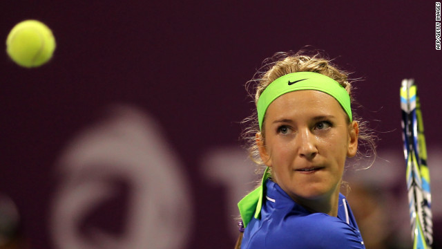 Eyes on the prize: Belarusian Victoria Azarenka made it 15 straight wins in 2012 at the Qatar Open
