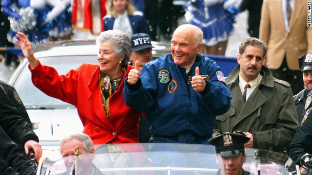 John Glenn and his wife Annie parade up Broadway's 'Canyon of Heroes' in November 1998.