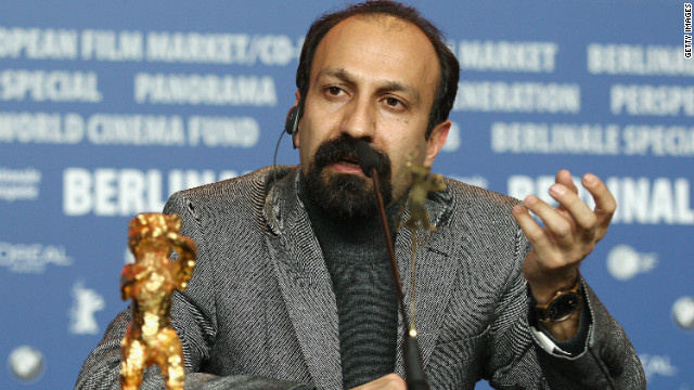 "Asghar Farhadi speaks after winning the Golden Bear prize for his film, ""A Separation,"" at the Berlin International Film Festival."