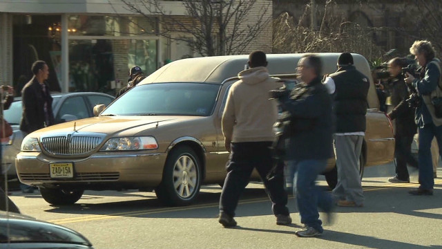 Whitney Houston hearse arrives