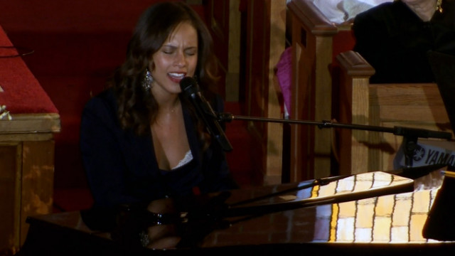 whitney houston funeral alicia keys