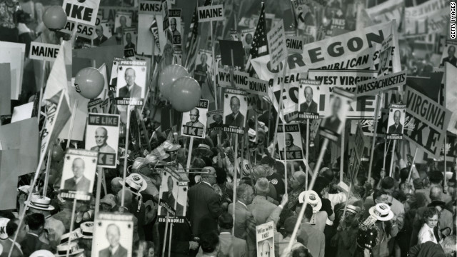 Republicans rally for Dwight D. Eisenhower during their National Convention, Chicago, 1952.