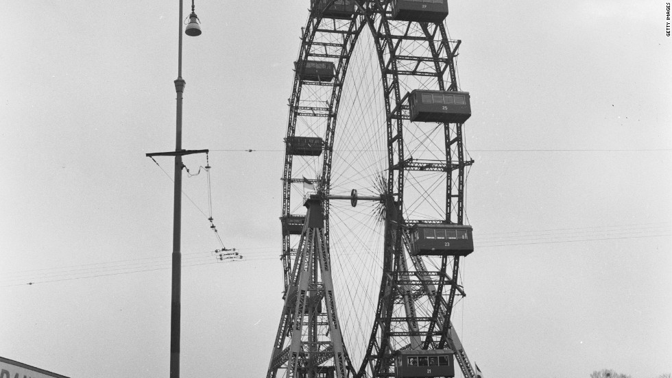 "The famous Ferris wheel at the Prater amuseument park pictured around 1955, and which features in the Graham Greene-penned noir film ""The Third Man."""