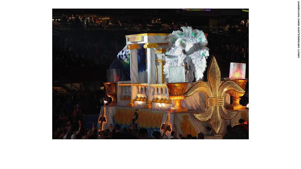 King of Endymion, George LaFargue Jr. enters the Superdome in New Orleans, at Saturday's Mardi Gras Extravaganza.
