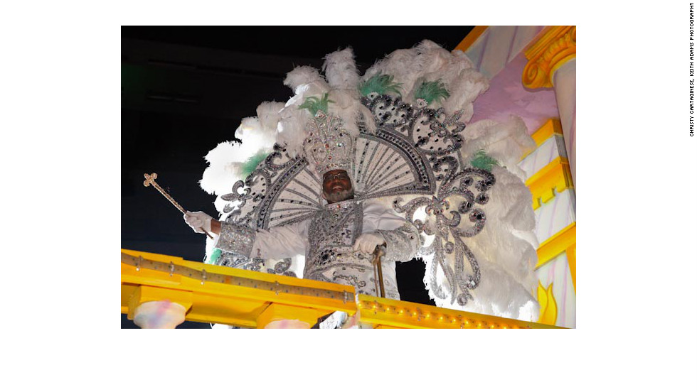 "George LaFargue Jr., King of Endymion in ""full dress"" as he enters the Superdome on Saturday, February 18, 2012, kicking off the krewe's mardi gras ball."
