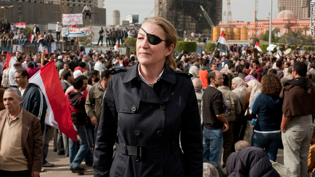 A handout picture from British newspaper the Sunday Times shows war correspondent Marie Colvin in Cairo, Egypt.