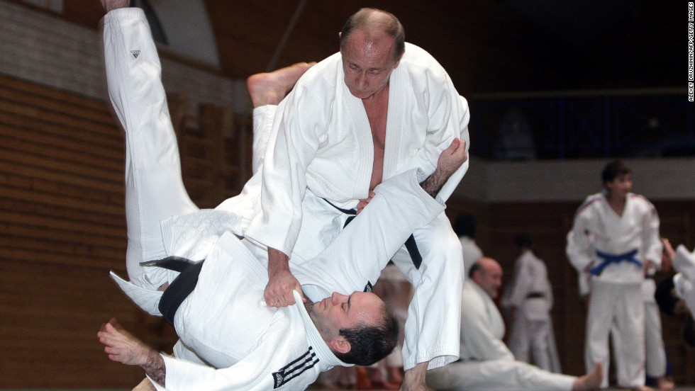 Putin takes part in a judo training session at a St. Petersburg athletics school in December 2009. Putin holds a black belt in judo.