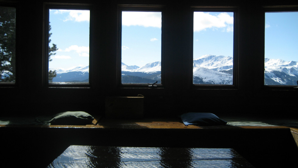 The view from a cabin in the backcountry near Leadville, Colorado is breathtaking. The cabin is on public lands, has no running water and uses a simple wood stove for heat.