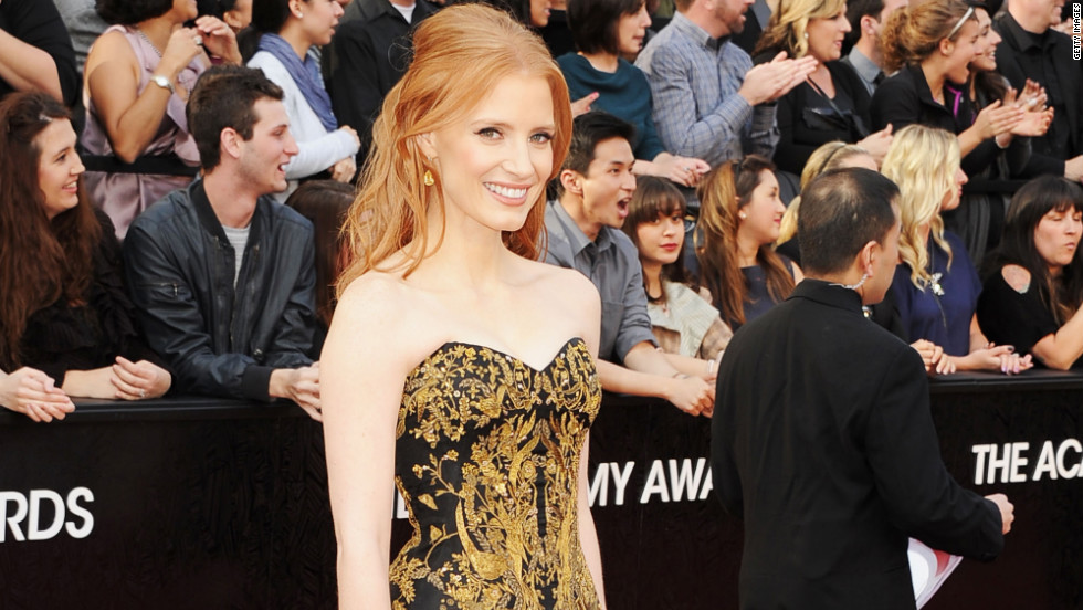 "Nominated for her role in ""The Help,"" Jessica Chastain brought her grandmother (not pictured) as her ""plus one."""