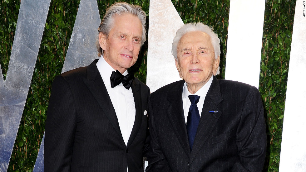 Michael Douglas, left, attended the Oscars with his father, actor Kirk Douglas.