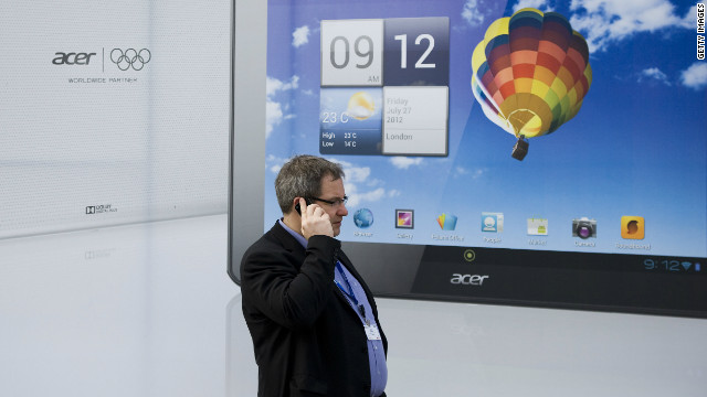 A visitor attends the first day of the Mobile World Congress on February 27, 2012 in Barcelona, Spain.