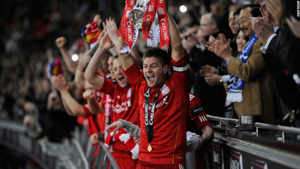 While Anthony Gerrard reflected on his miss, Steven lifted Liverpool's first trophy since winning the 2006 FA Cup.