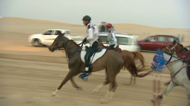 Endurance horse racing in the desert