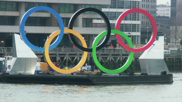 Olympic rings on the river