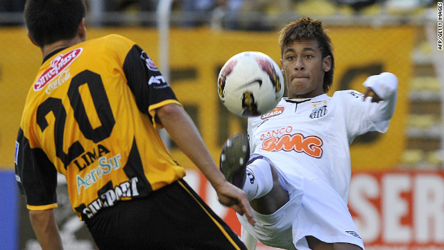 Brazilian Santos player Neymar vies for the ball during match in La Paz on February 15, 2012.