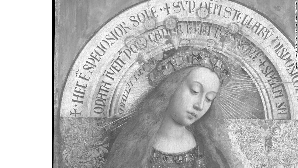 The same panel of the Virgin Enthroned seen with digital infrared macrophotographs. One major question scholars are hoping to answer is how involved Hubert van Eyck, older brother of Jan van Eyck, was in the painting of the work.