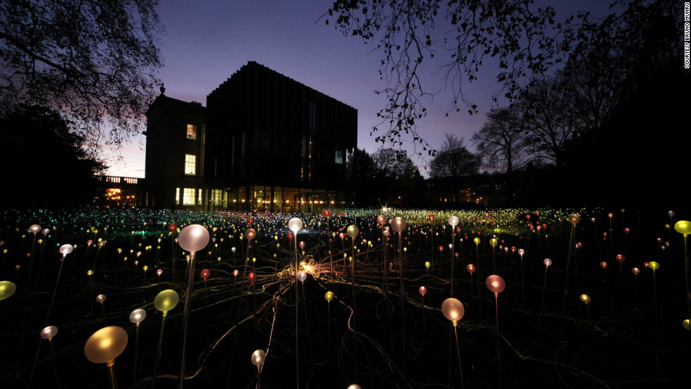 "Bruce Munro's striking light gardens are glowing landscapes of low-energy LED lights and fiber optics that sparkle in the night. ""Creatiing these pieces allows me to (hopefully) communicate some of my thoughts and feelings about the importance of cherishing the environment,"" he says."