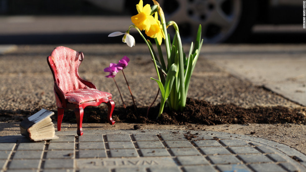 "British artist and designer Steve Wheen creates tranquil miniature outdoor scenes in potholes in London roads. ""The <a href=""http://thepotholegardener.com/"" target=""_blank"">Pothole Gardener</a> is a project that challenges people's perception of the urban environment around them,"" he explains. ""The point was never to highlight the issues around climate change, rather to bring greenery and beauty into an urban setting. However, if the project brings up these issues, that's great too. I know it's a cliche, but small changes can make a big difference."""