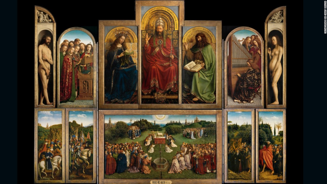 "The Ghent Altarpiece is the most frequently stolen artwork in history, having been stolen (all or in part) six times over a period of more than 600 years. Of the twelve panels that comprise the enormous altarpiece, one is still missing. Referred to as the ""Righteous Judges"" panel, it was stolen from the cathedral of St. Bavo in Ghent, Belgium in 1934. The theft was designed by Arsene Goedetier, a middle-aged stockbroker active in the cathedral community. He was not the actual thief, but designed the theft based on the plot of one of his favorite books, ""The Hollow Needle"" by Maurice LeBlanc. After many false leads and a protracted, failed attempt to ransom the panel back to the bishopric, it remains missing."