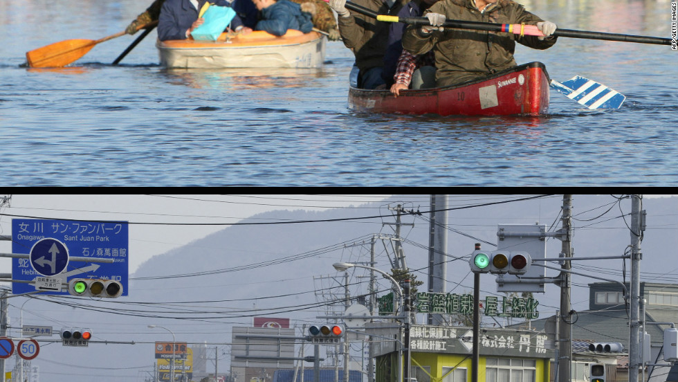 People evacuating with small boats down a road flooded by the tsunami in the city of Ishinomaki in Miyagi prefecture on March 12, 2011 (top) and the same area on January 13, 2012.
