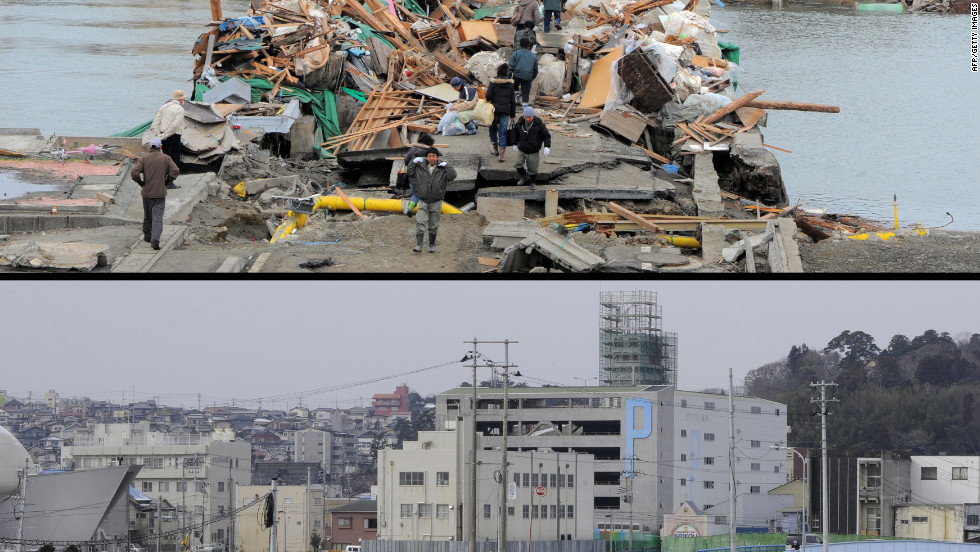 Residents crossing a bridge covered with debris in a tsunami hit area of the city of Ishinomaki in Miyagi prefecture on March 15, 2011 (top) and the same area on January 13, 2012.